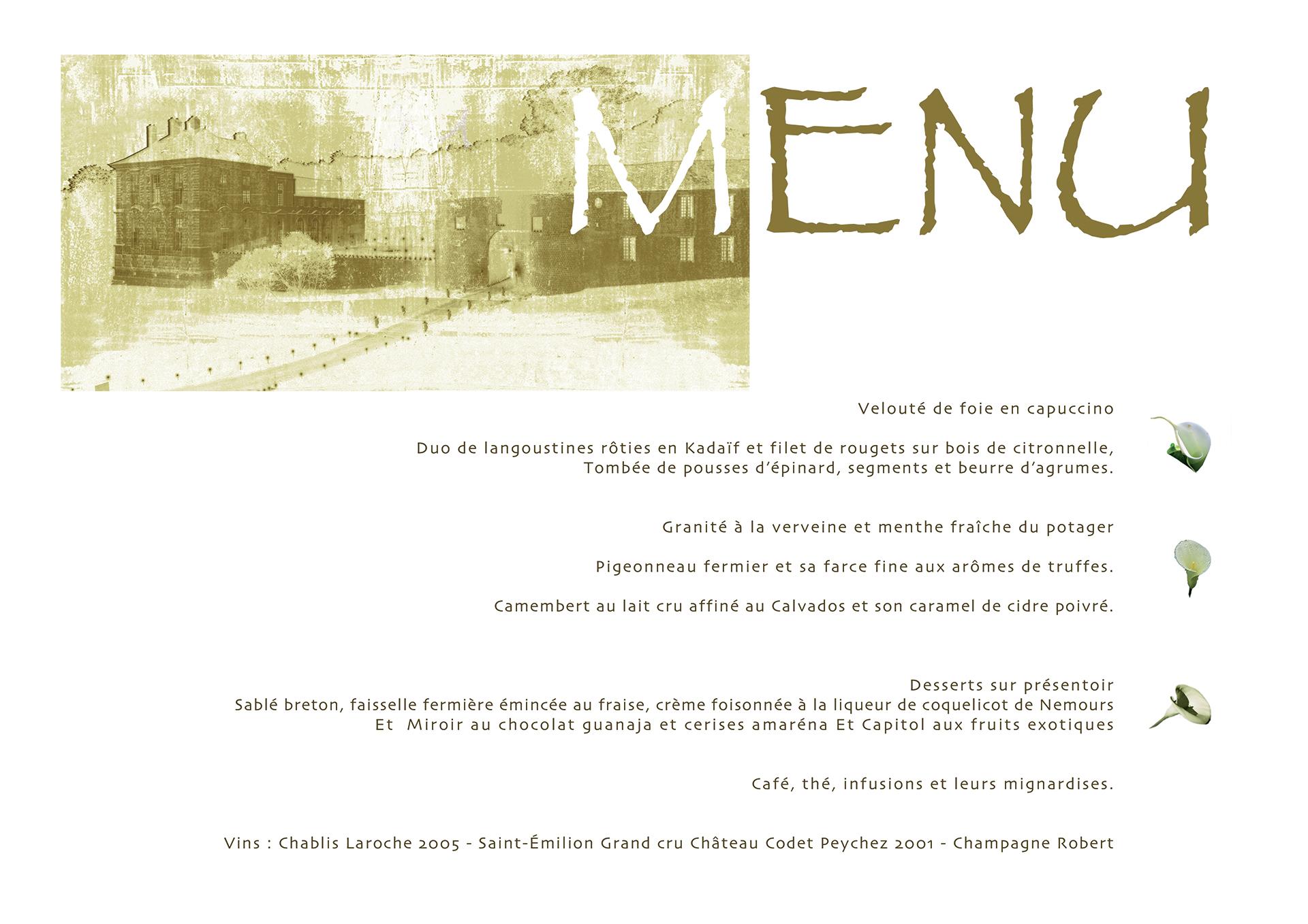 menu imprimé d'un dîner de mariage au château de Vallery