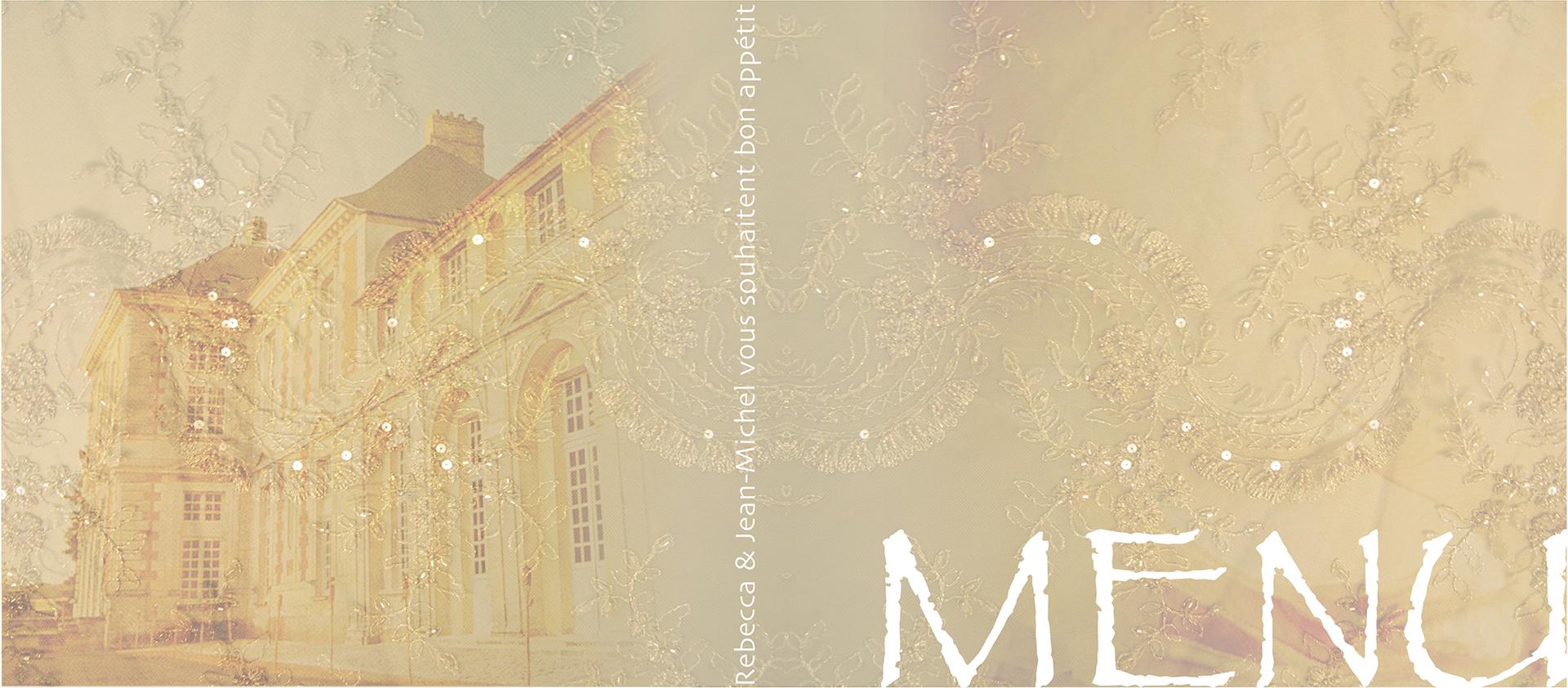 design de Dimitri Signolle  pour un menu de mariage au château